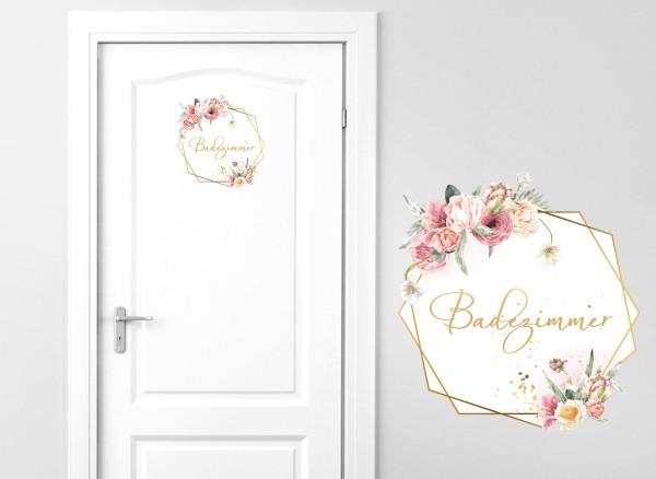 Grandora Türaufkleber Badezimmer mit Blumen DL737