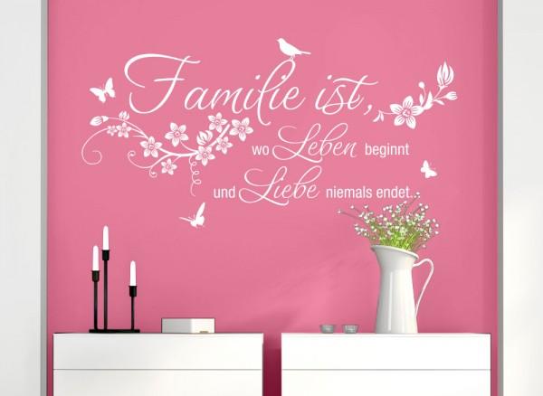 Wandtattoo Familie ist.. wo Leben beginnt.. W5458