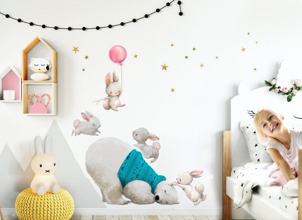 Little Deco Wandtattoo Eisbär & Hasen mit Ballon Rosa DL234