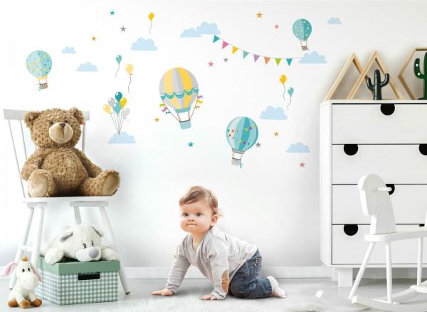 Little Deco Wandtattoo Heißluftballons Türkis Hellgrau DL374