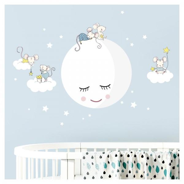 Little Deco Wandtattoo Mond Wolken Mäuse DL435