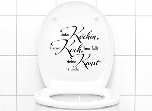 """Wandtattoo WC Aufkleber """"Liebe Köchin, Lieber Koch,..."""" W915"""