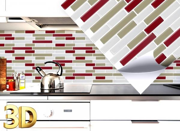 4x 3D Fliesenaufkleber 27,9 x 23,4 cm rot taupe weiß W5412