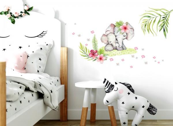 Little Deco Wandtattoo Elefanten mit Blumen DL357