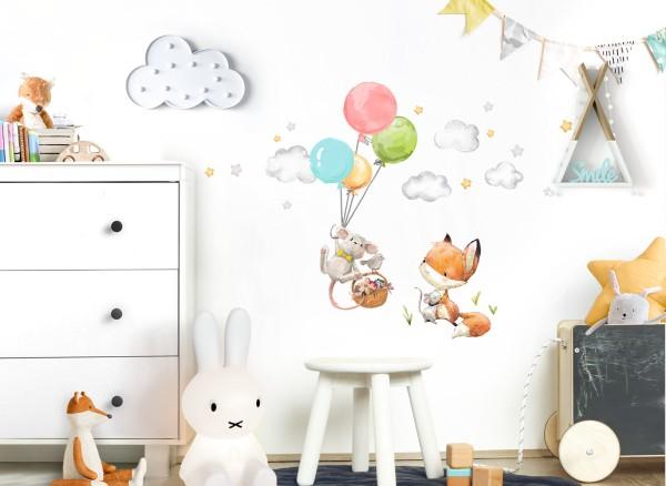 Little Deco Wandtattoo Fuchs und Maus mit Luftballons DL600
