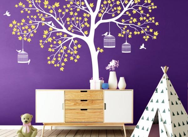 Wandtattoo Baum 2-farbig mit Blättern, Vögeln & Vogelkäfig W5141