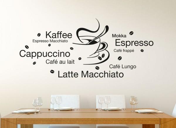 Wandtattoo Latte Macchiato Cappuccino Espresso + Tasse E003