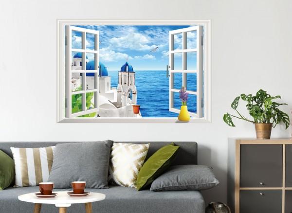 Wandtattoo offenes Fenster mit Meerblick W5356