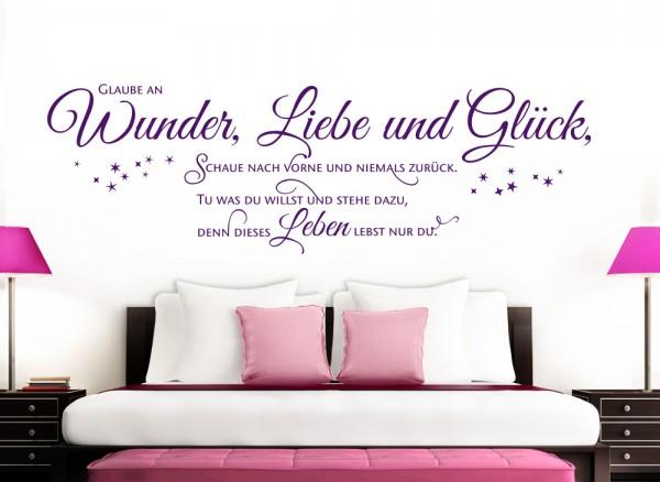 wandtattoo zitat glaube an wunder liebe gl ck w5393 spr che zitate wohnzimmer. Black Bedroom Furniture Sets. Home Design Ideas