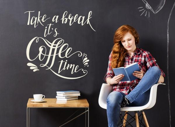 Wandtattoo Take a break it's Coffee time W5544