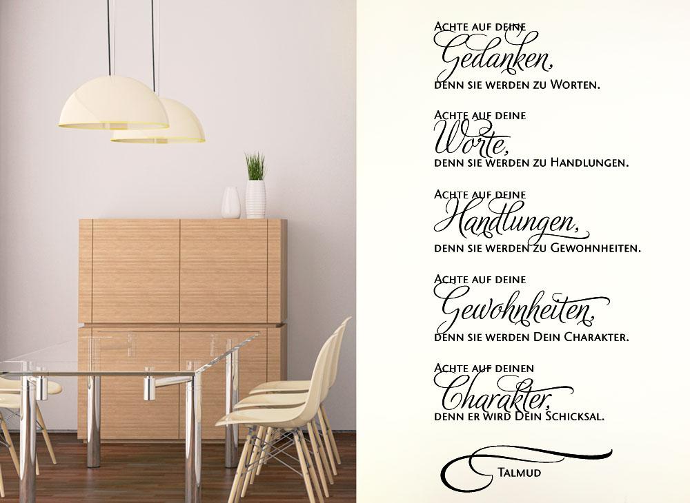wandtattoo zitat talmud achte auf deine gedanken w976. Black Bedroom Furniture Sets. Home Design Ideas