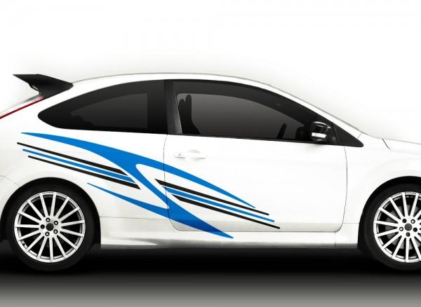 Autoaufkleber 2er Set Racingstyle 2-farbig X7092