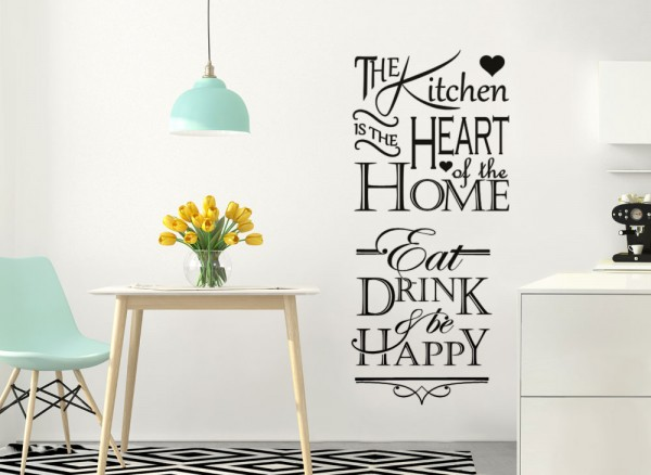 Wandtattoo Spruch Eat Drink & Be Happy W5399