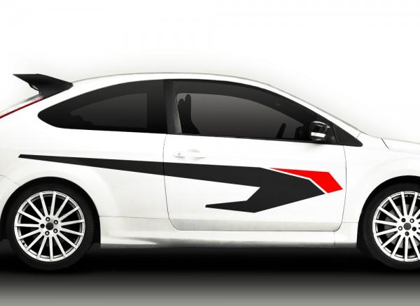 Autoaufkleber 2er Set Racingstyle 2-farbig X7048