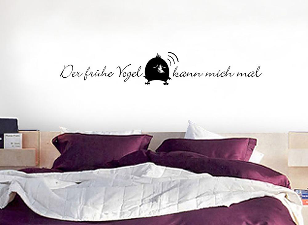 wandtattoo zitat der fr he vogel kann mich mal w702 spr che zitate schlafzimmer. Black Bedroom Furniture Sets. Home Design Ideas