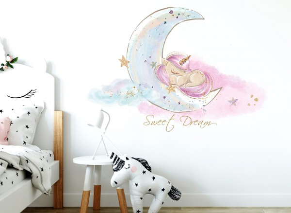 Little Deco Wandtattoo Sweet Dream Einhorn & Mond DL157