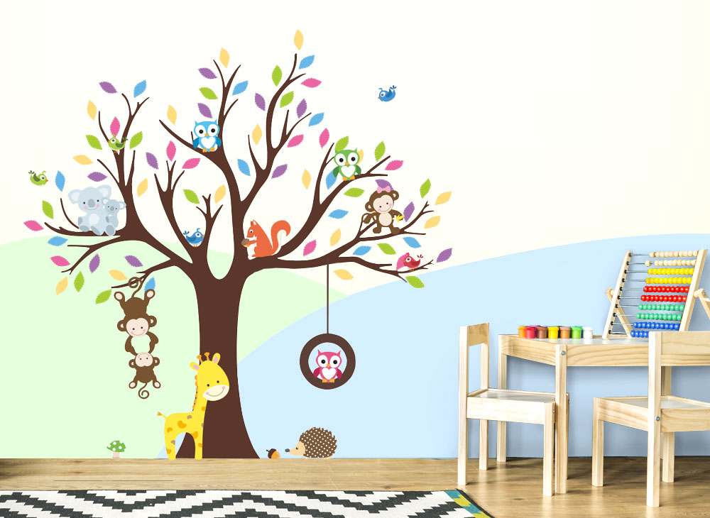 Wandtattoo Baum mit Affen Eulen Igel Giraffe W5300