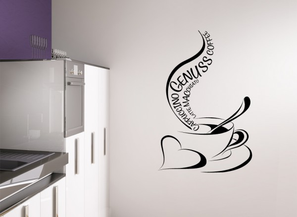 Wandtattoo Coffee Kaffeetasse Herz W925