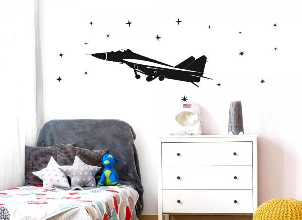 Wandtattoo Flugzeug Düsenjet + Sterne W5519