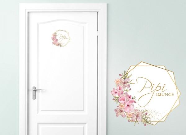Grandora Türaufkleber Pipi Lounge mit Blumenranke DL439