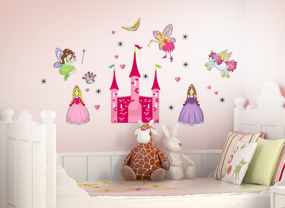 wandtattoo prinzessin und feen mit schloss sterne und herzen w5184 m dchen kinderzimmer. Black Bedroom Furniture Sets. Home Design Ideas