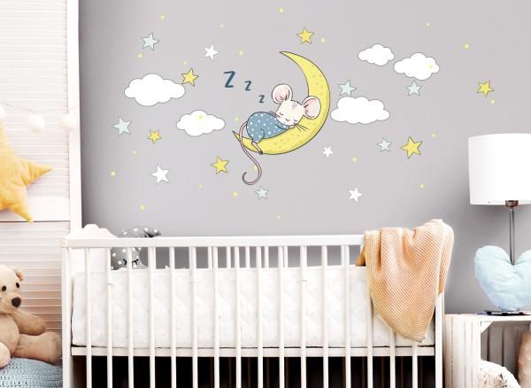 Little Deco Wandtattoo schlafende Maus auf Mond DL301