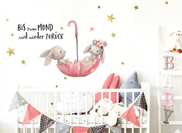 Little Deco Wandtattoo Bis zum Mond & Hasen im Regenschirm DL131
