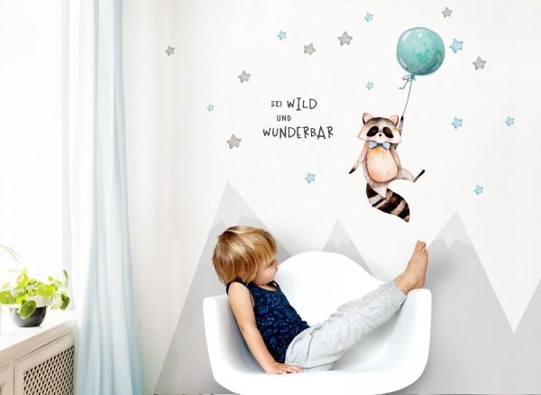Little Deco Wandtattoo Sei wild & Waschbär mit Luftballon DL324