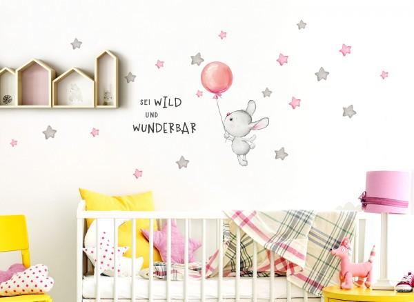 Little Deco Wandtattoo Sei wild & Hase mit Luftballon DL325