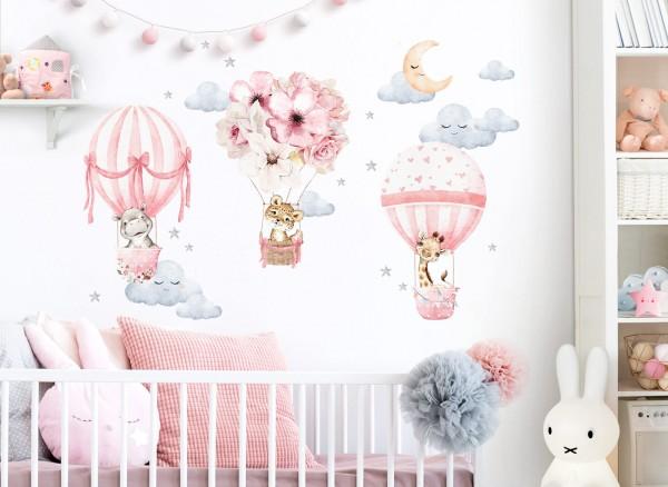 Little Deco Wandtattoo Tiere & Heißluftballons Rosa DL658