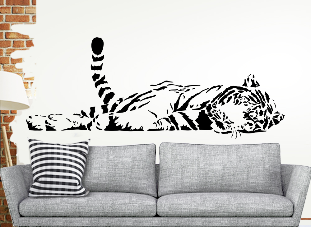 wandtattoo tiger liegend xxl w910 tiermotive wohnzimmer wandtattoos nach zimmer. Black Bedroom Furniture Sets. Home Design Ideas