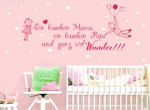 Wandtattoo 2-farbig Spruch Papa Mama Wunder + Herzen Sterne W5431 ...