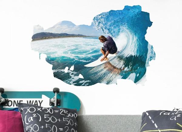 Wandtattoo aufgerissene Wand mit Surfer W5358