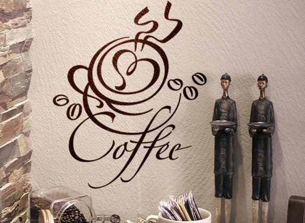 Wandtattoo Kaffeetasse mit Herz + Schriftzug Coffee W701