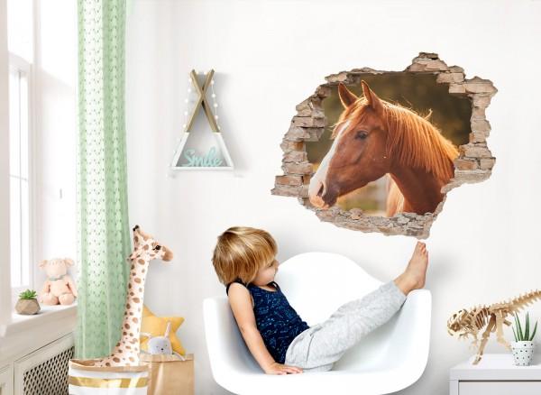 Little Deco Wandtattoo 3D Loch in der Wand mit Pferd DL625