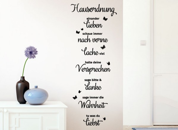 Wandtattoo Hausordnung Lachen Liebe Danke G169