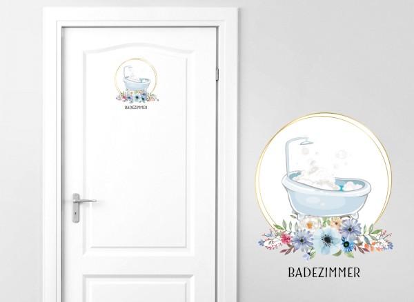 Grandora Türaufkleber Badezimmer mit Badewanne & Blumen DL442