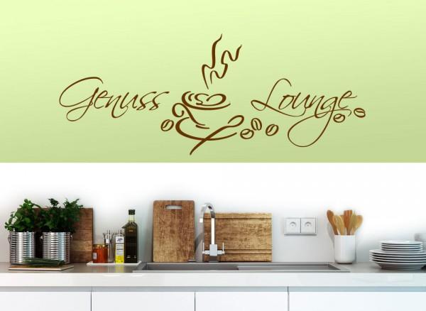 Wandtattoo Spruch Genuss Lounge mit Kaffeetasse W1155