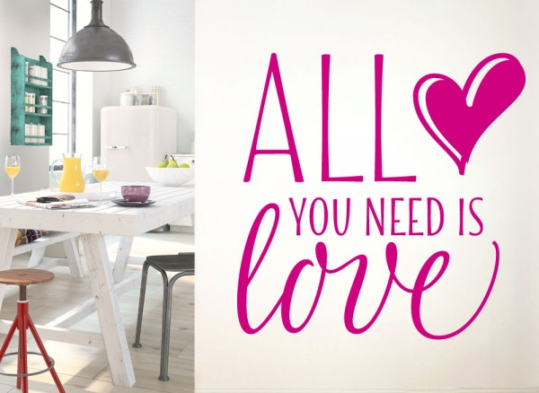 Wandtattoo Spruch All you need is Love G163
