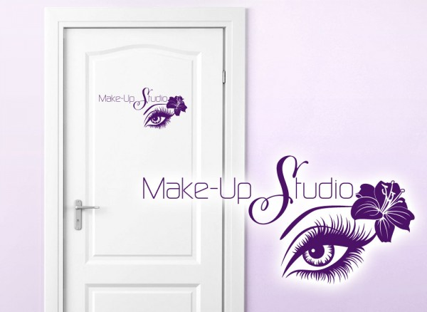 Wandtattoo Türaufkleber Make-Up Studio + Auge & Hibiskusblume W5445