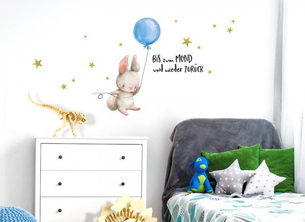 Wandtattoo Hase mit Luftballon Blau & Spruch Bis zum Mond DL229 ...