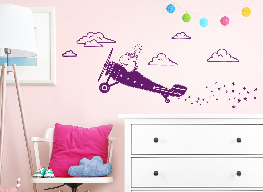 wandtattoo flugzeug mit einhorn w5520 m dchen kinderzimmer wandtattoos nach zimmer. Black Bedroom Furniture Sets. Home Design Ideas