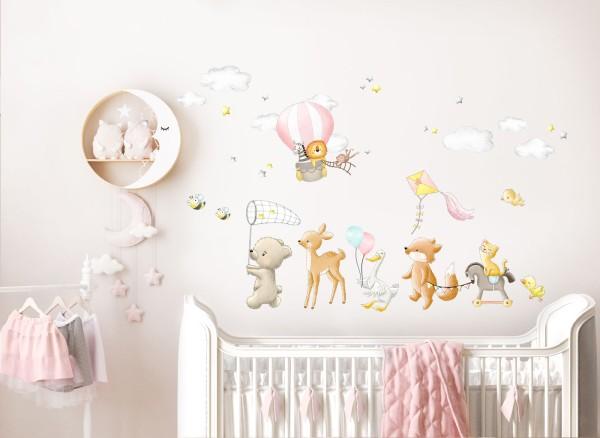 Little Deco Wandtattoo Tier Polonaise mit Heißluftballon DL746