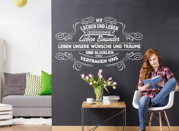 """Wandtattoo Spruch """"Wir leben und lachen..."""" W5501"""