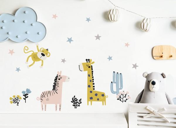 Little Deco Wandtattoo Safaritiere Affe Zebra Giraffe DL310
