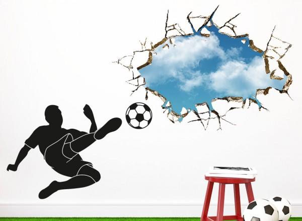 Wandtattoo Fußballspieler Schuss durch Wand W5381