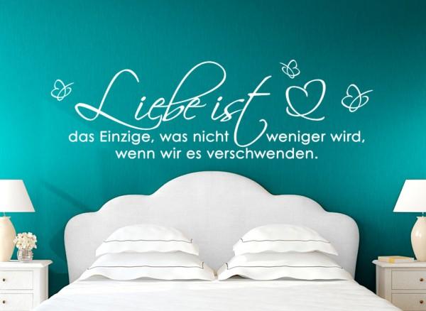 Wandtattoo Zitat Liebe ist.. mit Schmetterling + Herz W5134 ...