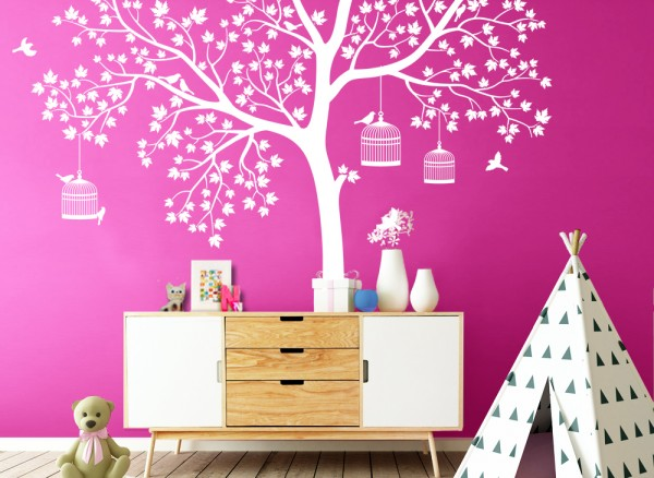 Wandtattoo Baum mit Blättern, Vögeln & Vogelkäfig W5149