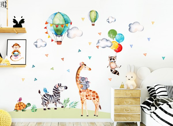 Little Deco Wandtattoo Safari Party Giraffe Zebra Luftballons DL313