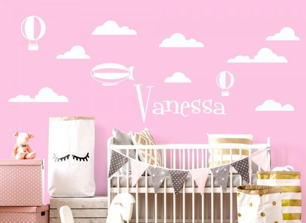 Wandtattoo Wolken Ballon + Wunschname W5433